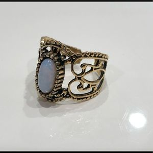 Coventry adjustable faux opal ring